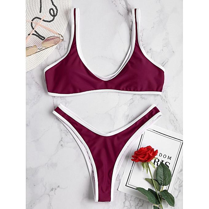 9c690086c8a ZAFUL Contrast Trim Bralette Bikini Set