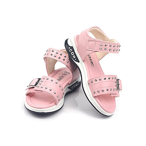 5c55e68b996d Generic Open Pink Soft Leather Girls Sandals with rivets   studs finish