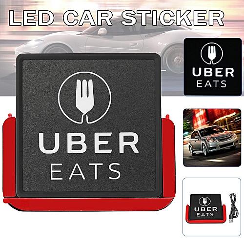 Rechargeable UBER EATS Car USB LED Flashing Light Logo Sticker Bright  Glowing
