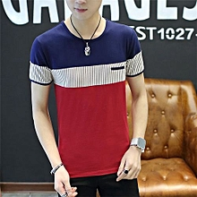 Grace New Men's Color Cross Bar Short Sleeve T-shirt Casusal O-neck Tops Tee-Red