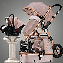 3 in 1 Pro Baby Stroller High View Pram Foldable Pushchair Bassinet & Car Seat3#Khaki #2