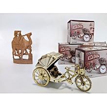 New Desk Alarm Clock L-22cm Rickshaw Bedroom Clock Home Decor kids' Xmas NY gift