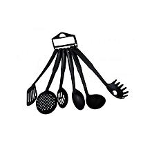 Plastic Non-Stick Serving Spoons - 6 Pieces - Black