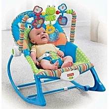 Infant to Toddler Baby Rocker with Musical Toy Bar & Vibrations– Blue