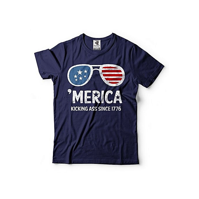 da77d8e2 Merica USA T-shirt Kicking Asss Since 1776 Tee Shirt USA Patriotic  Indenendence Day T