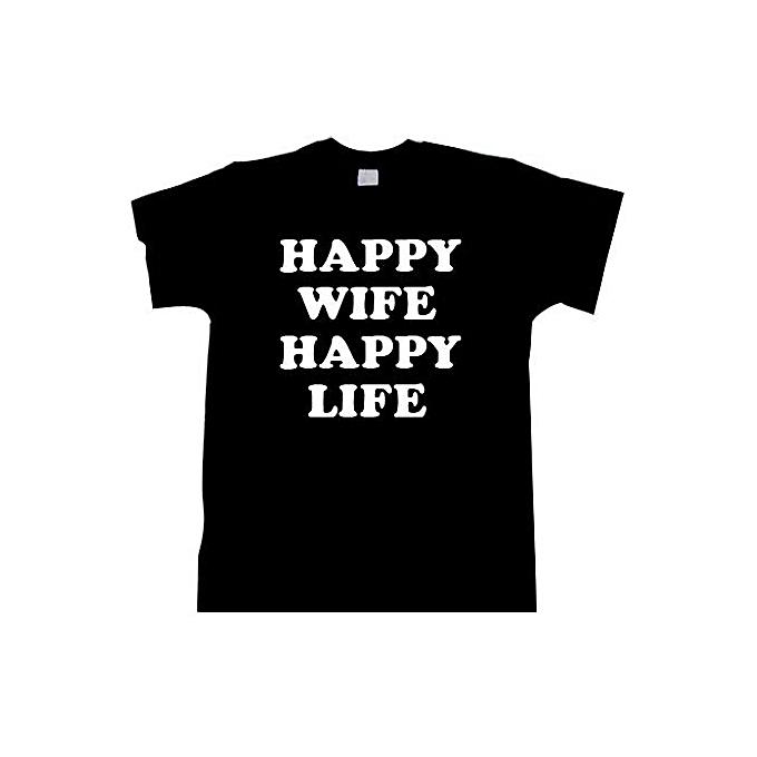 Generic Funny Top Mens Wedding Gift Happy Wife Happy Life Mens Tee