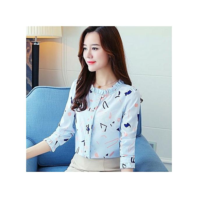 7565986c2ab3 Korean Fashion New Wooden Ear Collar Solid Color Women's Shirt Slim Floral  Chiffon Shirt Top Printed