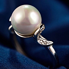 Fashion Waves Shell Pearl CZ 925 Sterling Silver Adjustable Ring