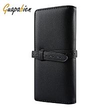 Women Belt Thread Long Cash Clutch Wallet - Black