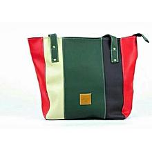 2 in 1 Ladies Faux Leather  Shoulder Bag-Multicolor
