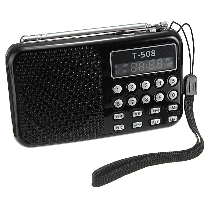 T508 Mini Portable LED Stereo FM Radio Speaker USB TF Card MP3 Music .