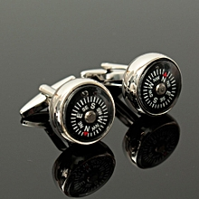 Mens 3D Real Working Compass Business Sliver Cufflinks Wedding Cuff Links Gift