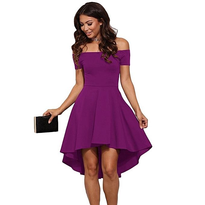 bb52115fa535 Off Shoulder Strapless Princess Dovetail Tube Dress Sexy Elegant Slim Party  High Low Purple Dress Summer
