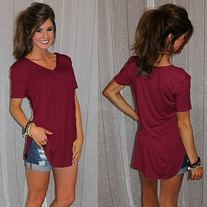 e52be7a360 ... Party Wear Tops · New Fashion Women T-shirt Solid Color V Neck Short  Sleeve Rounded Hem Long Casual