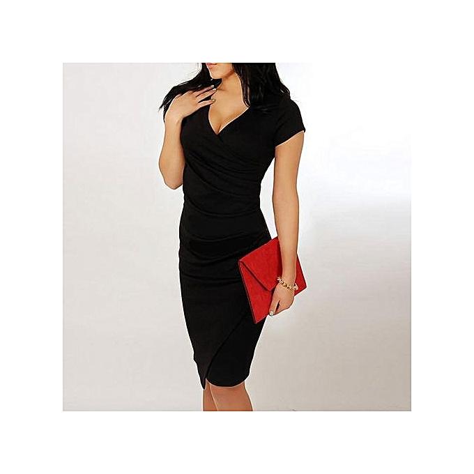 Grace Midi Dress Women s Short Sleeve V-Neck Slim Sexy A-Line Office Ladies 936a4b450