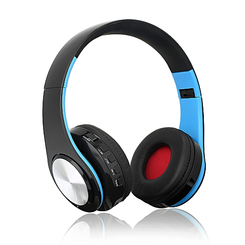 Wireless Bluetooth Headphones Foldable Over Ear Stereo Music Headsets TF  Card MP3 Player FM Radio 3 5mm Wired Earphone Hands-free w/ Microphone -  Blue