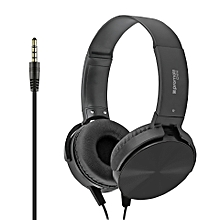 CHIME: Black Premium Headset with Rotatable Ear-Cups, Built-in Microphone, HD Sound, 3.5mm Audio Jack and Anti-Tangle Wires