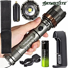 Camping & Hiking Flashlight Tactical Flashlight 5000LM XM-L T6 LED Zoomable Torch Lamp+Battery+Charger