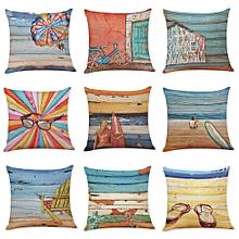 45 x 45cm Summer Beach and Oil Painting Cotton Linen Pillow Case Home Office Car Cushion Pillowcase