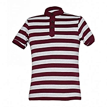 Grey / Maroon Mens Striped Mandarin Collar T-shirts