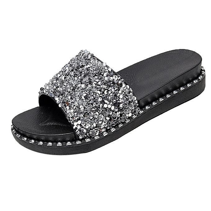 c1ec47bbf8f Xiuxingzi Women Slippers Sequined Platform Flip Flops Sandals Glitter  Slippers Sandals