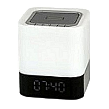 MP-28 Portable White bluetooth speaker with Fm Radio,Clock, Alarm,Calendar Mode, a Touch and a Built in Battery