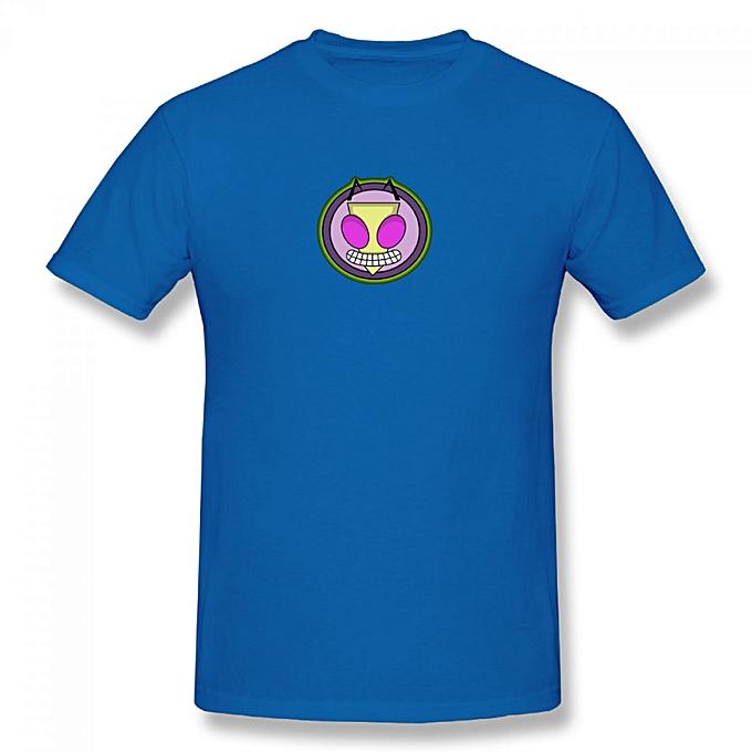 Irken Invader Zim Logo Mens Cotton Short Sleeve Print T Shirt Blue