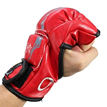 ZOOBOO PU Leather Boxing Gloves MMA Sparring Muay Thai Punch Bags Training Pads Red Tiger Claw
