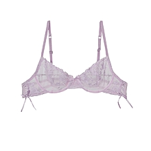 Pink Transparent Floral Lace Bra