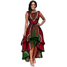 f916b982ee78 Refined New arrivel Large size dress women  039 s sleeveless printed  bouquet waist dress