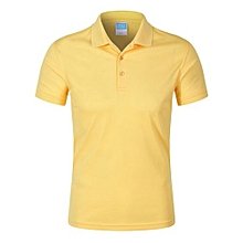 Pure Color Fashion Casual Men's Summer B Short Sleeves Polo Shirts-Yellow