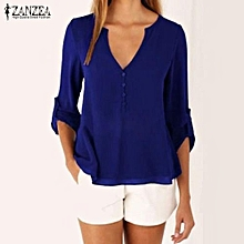 48a04d90fdd101 ZANZEA Vintage Women Chiffon V Neck Long Sleeve Tops Shirt Blouse OL Office  Back Buttons Asymmetric