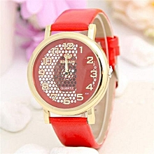 Wrist Watch Stylish Hollow Women Casual Girl Roman Numerals Modern Crystal Elegant(Red)