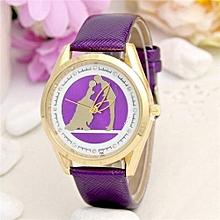 Ms Lovers Kiss Pattern Women Leather Band Watches Sport Analog Lady Quartz Date Wrist Watch(Purple)