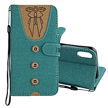 Splicing Embossed Female Style Horizontal Flip Leather Case for iPhone X , with Holder & Card Slots & Wallet & Lanyard(Green)