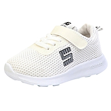 jiuhap store Toddler Kids Sport Running Baby Shoes Boys Girls Letter Mesh Shoes Sneakers -White