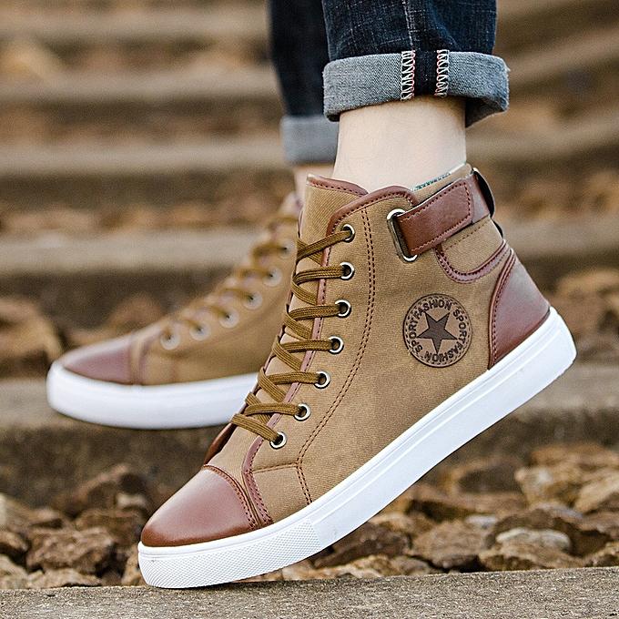 47b8b9d924 birthpar store Men Women Causal Shoes Lace-Up Ankle Boots Shoes Casual High  Top Canvas Shoes -Khaki