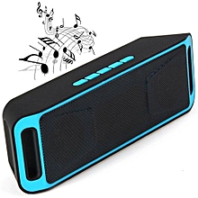 SC-208 Portable Bluetooth Stereo Wireless Speaker Support Handsfree FM Radio AUX USB TF Card Mic for Phone(Blue)