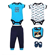 Boys Short Sleeved Tops & Pants 5 Piece Set - Beary Cool Dude