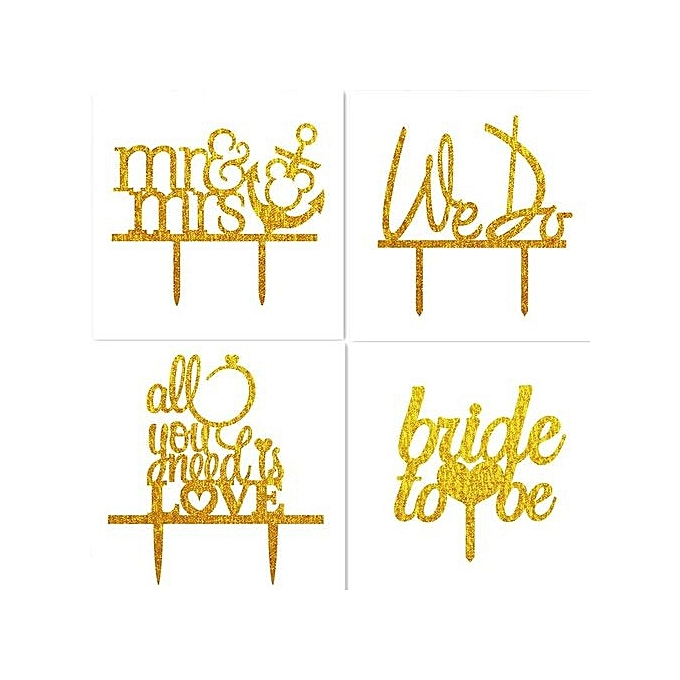 Buy Generic Bride To Be Letter Wedding Cake Topper Acrylic Shining ...
