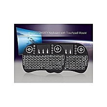 Wireless Keyboard with Touchpad Mouse  and multicolour Backlight - Black.