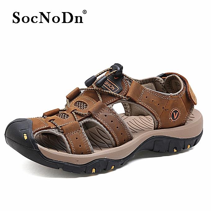 26b30b3c9 SocNoDn Men Casual Fashion Leather Beach Sandals Shoes Dark Brown ...