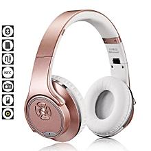 Headphones, MH1 NFC 2in1 Twist-out Speaker Bluetooth Headphone With FM Radio /AUX/TF Card MP3 Sports Magic Headband Wireless Headset Earphone(Rose Gold)