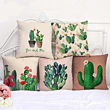 Honana 45x45cm Cactus 5 Optional Patterns Cotton Linen Sofa Pillow Case Cushion Cover