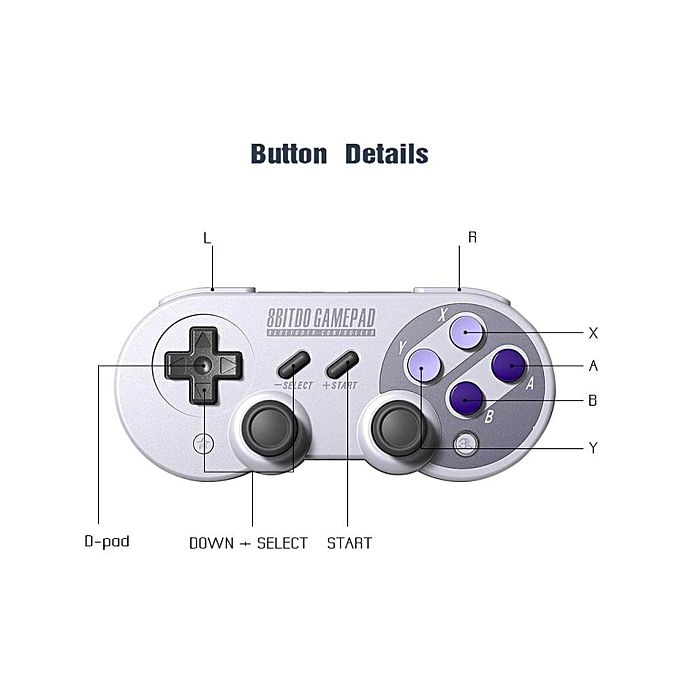 8Bitdo SF30 Pro/SN30 Pro Bluetooth Gamepad Wireless Game Controller with  Joystick for Windows Android Steam Nintendo Switch WWD