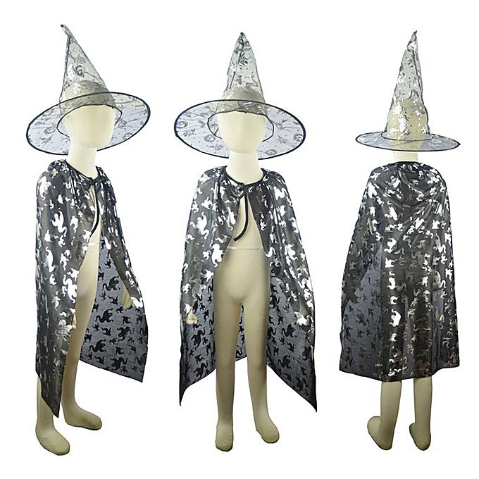 97297f3e41f5 Generic Hiaojbk Store Kids Childrens  Halloween Baby Costume Wizard Witch  Cloak Cape Robe+Hat Set-Silver