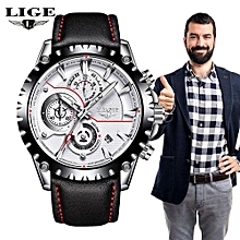 LIGE Watch Men Top Brand Luxury Quartz Clock Mens Watches Sports Chronograph Leather Waterproof Fashion Watch Relogio Masculino 9842