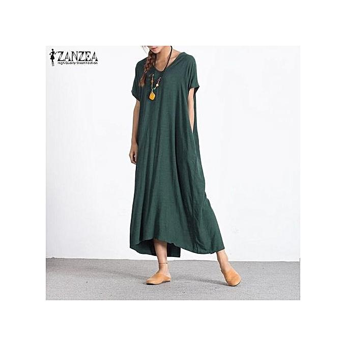 002f7933c4 ZANZEA Fashion Women Summer Long Maxi Dress V Neck Short Sleeve Back  Buttons Split Hem Plus