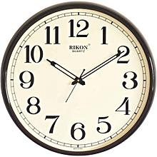Big Wall clock QUARTZ - ROUND shaped, WOOD IVORY PLASTIC FRAME 1608,  43 cms diametre.