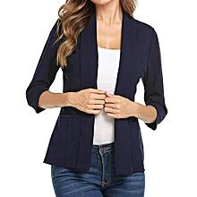 Xiuxingzi Women Mini Suit Casual 3/4 Sleeve Open Front Work Office Blazer Jacket NY/L
